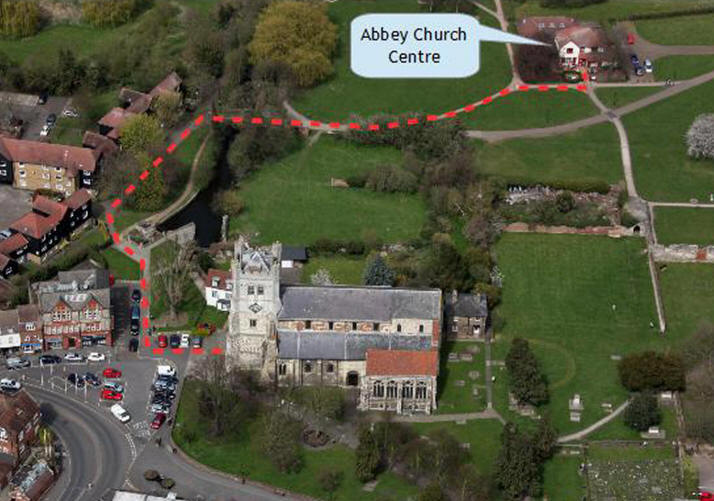 Aerial view of Waltham Abbey Church with directions to Abbey Church Centre
